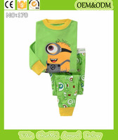 2015 new baby minions pajamas sets kids despicable me pijamas children green minions sleepwear 100%cotton long sleeve nightwear