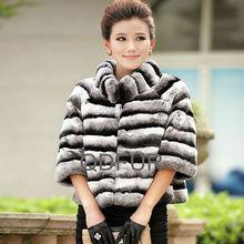 QD60433 Online Shopping For Wholesale Clothing Woman Wear Chinchilla Rex Rabbit Fur Winter Coats 2014