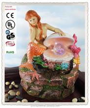 nautical indoor decorative water fountain resin mermaid