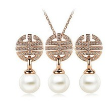 2015 New Imitation Pearl Set Flower Jewelry Sets for Women Pearl Set