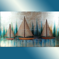 handmade fishing boats art painting on canvas Sailing boat abstract oil painting seascape oil painting office wall design
