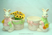Double Size New Handcrafted Clay Rabbit Design Art Plant Pot Container