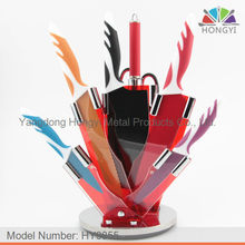 Colored 8 pcs kitchen not stick knife set in acrylic stand