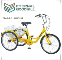 Cheap tricycle with 24 inch family used sigle speed GW 7001
