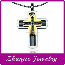 Fashion Catholic Jewelry 316L Stainless Steel Religious Christianity Two Layers Pendants Father Jesus Cross Pendant With CZ