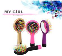 My girl espelho portátil do arco-íris escova de cabelo Popular pente de osso para cabelos finos