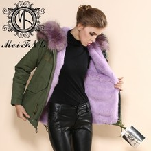2015 european clothing Female fashion fine cotton women's warm winter fur coat factory S-4XL cloth