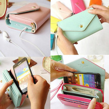 Pouch Wallet PU Leather Case for iphone 5s, 4s, 6 4.7inch, 5C, for Samsung Galaxy S3 S4 S5 Cover Crown Card Slot