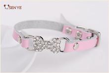Leather Diamond Bone Studded Dog And Cat Pet Collars Cool PU Pet Collars/Leashes