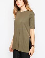 Hotsale new arrivals o neck woman t shirt short sleeve lady t-shirt blank woman t-shirt long style