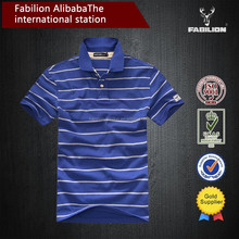 High quality 100% Cotton coarse stripe color collision polo shirt alibaba china for men