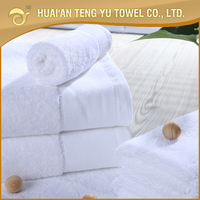 High quality woven plush pure cotton white terry bath towel