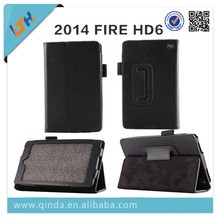 2015 New arrival pu leather case for kindle fire HD6