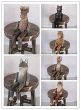 2015 wooden shelf sitter animal carving