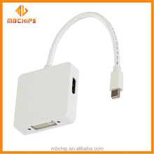 Mini Displayport 3 In 1 Dp Male To H-d-m-i +dvi +dp Female Adapter For Macbook