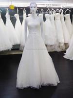 A line wedding dress floor length short train lace beading sashes tank sleeveless backless bridal dress 15126-1