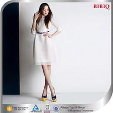 Fashion Women Clothing White Net Fabric Flower New Model Girl Dress