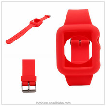Soft silicone watch band for apple watch with 9 adjustable holes in the strap, wholesale