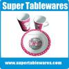 Wholesale safe health cute printed kids plastic dinnerware sets
