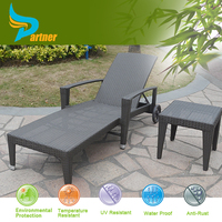 Lightweight Folding Plastic Beach Lounger with Wheel Clearance Outdoor Furniture with Coffee Table