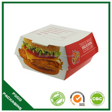 Popular exported colored paper hamburger boxes