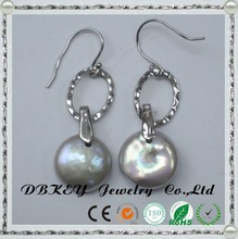 drop pearl earring designs Fresh Water Pearl with coin shape