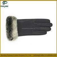 Ladies / women classic elegant rabbit fur cuff sheep leather gloves # KD-9190