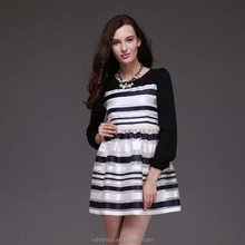 Ladies Casual Slim Fit with Black/White Stripe Long Sleeve Dress