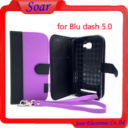 Folio Flip PU Leather Wallet Case With Card Slot and Stand For Blu dash 5.0