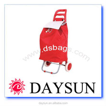 Polyester Fabric Folding Shopping Cart With Wheels