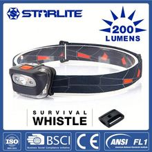 STARLITE Hiking survival whistle 200LM battery powered led headlight