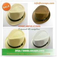 baby boy kids fedora hat with leather belt straw hat