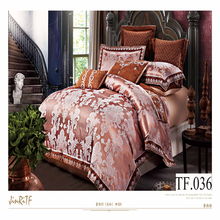 European silk jacquard creative bedding set 100% cotton king size 5 star hotel bedding set luxury wedding embroidery bed set 3d