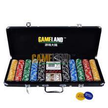 500 Poker Chip Black Aluminum Case with Clay Poker Chips