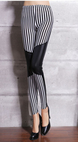 Factory Direct Hot Sale Spring And Autumn Europe Stitching Milk Silk Striped Sexy Slim Pants For Ladies 9672