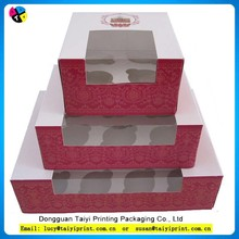 Hot selling new design box cupcake, cake box making ,custom printed paper pink cupcake box wholesale