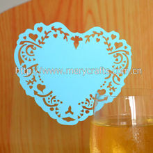 wholesale laser cut heart shaped wine glass place cards