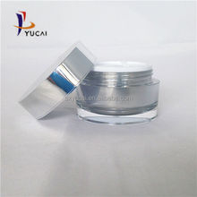 Factory supply luxury cosmetics and 50 ml cream bottle straight round bright silver empty jars acrylic lotion bottle
