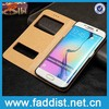 wholesale alibaba mobile phone case for samsung galaxy s6 edge with REAL leather Window case