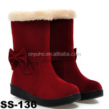 SS-136 2015 new cheap winter boots cute suede leather snow shoes with Bow