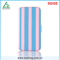 Newest for iphone 5 5s stripes stand wallet leather case