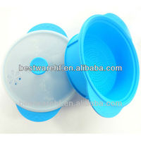 Lovely round non-toxic silicone kitchenware silicone microwave steamers with cover lids