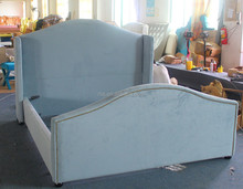 The latest high foot board fabric bed furniture of retro design for modern family decoration