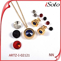women jewelery colorful ruby stone stainless steel costume african beads jewelry set
