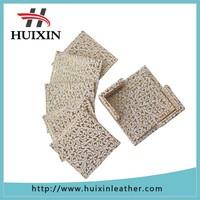 Huixin factory leather handmade custom embossed coasters 2015 leather