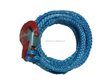 7mm x 6meters UHMWPE synthetic winch rope with stainless steel snap hook