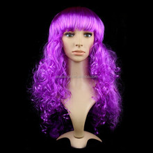 Purple long curly hair crazy cosplay party wigs