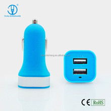 New Arrival 2 USB Car Charger Good 10 Colors LED Car Charger For Iphone5/6/Samsung/Ipad