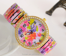 High quality good look fashion style watch priting flower watches