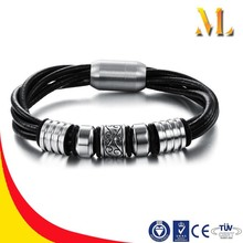 NSSL1709 NEW cheap weave four silicone ropes stainless steel magnet bracelet
